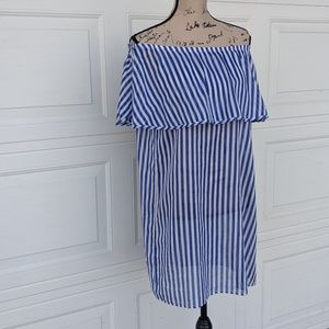 J. Crew Swim - J.Crew Off The Shoulder Striped Dress Beach Cover